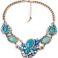 Glossy Turquoise Faux Stone Necklace - OASAP.com