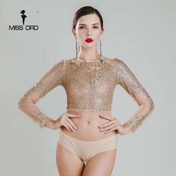 LMF78W Missord 2015 Sexy O-neck long sleeve sequin bodysuit FT4754