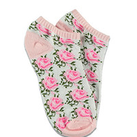 Rose-Patterned Ankle Socks