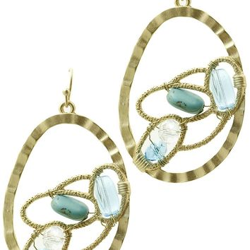 Turquoise Glass Natural Stone Hammered Metal Oval Ring Earring