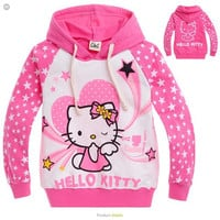 2016 new Spring Hello Kitty girls clothes long sleeve kids clothes, girls nova shirts, child Spring hoodies Tops & Tee