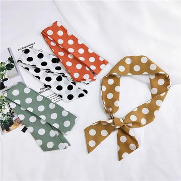 Fashion Women silk handfeel scarf with cute dot print / Women's bandanas headbands Hair Ribbons/So Many Uses hair accessories