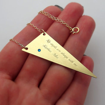 Personalized GeometricTriangle Necklace with birthstone / Modern Jewelry
