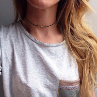 The Athena Choker - Gold and silver pretty bead choker necklace on black cotton cord.