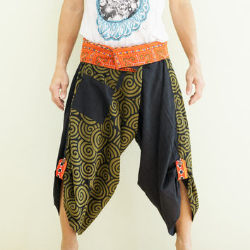 Size M/L Unique Wrap Around Samurai Harem Pants (Green Japanese Swirl)