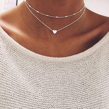 Simple Boho Love Heart Choker Necklace For Women Multi Layered Beads Choker Gold/Silver Sweet Statement Necklace Indian Jewelry