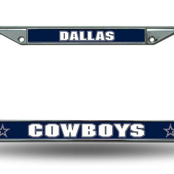 NFL Dallas Cowboys Metal Chrome License Plate Frame Auto Car