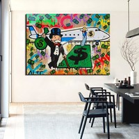 New Fashion Fly Alec monopoly Graffiti arts print canvas for wall art decoration oil painting wall painting picture No framed