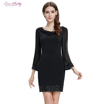 Cocktail Dresses HE03764BK Black New Fall Winter Fashion Long Sleeve Sequined Short Party Dress 2017 Special Occasion Dresses