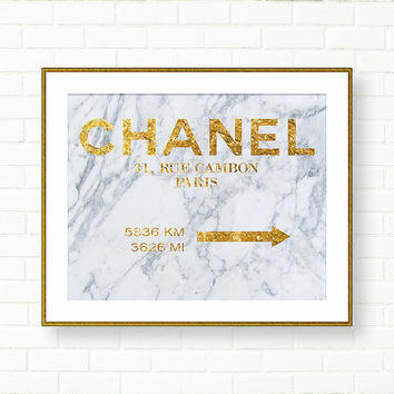 Coco Chanel Art Print, 31 rue Cambon, Marble Wall Art, Vanity Decor, Fashion Art, French Decor, Gold Art Print, Glam Bathroom, Gold Grey