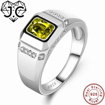 J.C Fine Jewelry Charm Peridot & White Topaz Solid 925 Sterling Silver Ring Size 6 7 8 9 For Women/Men Best Anniversary Gift