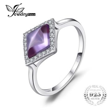 JewelryPalace Fancy 2.15ct Created Alexandrite Sapphire Halo Rings For Women Solid 925 Sterling Silver 2017 Fashion Fine Jewelry