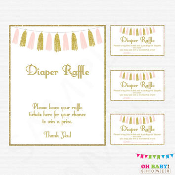 Pink and Gold Baby Shower Diaper Raffle Ticket, Diaper Raffle Sign, Baby Shower Diaper Raffle Cards, Pink Gold Tassels, Printable, TASPG