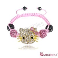Children's Kitty Shamballa Bracelet - Pink & Gold