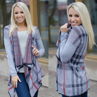 Read Between The Lines Cardi (Grey) - Piace Boutique