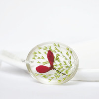 Pressed Botanical Jewelry. Plant in Resin Jewelry. Red Maple Seed Key Pendant. Nature Inspired Samara Jewelry