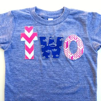 Pink navy girls birthday outfit Sailboat Seek Adventure for Girls two triblend short sleeve shirt nautical sailor sea whales arrow girls 2nd