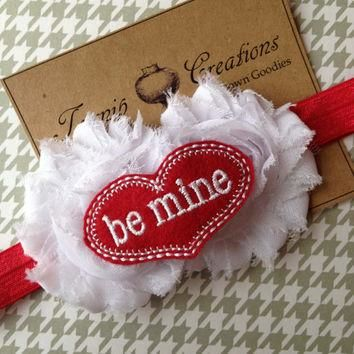 Valentines White Shabby Frayed Flowers with Felt BE MINE Conversation Heart on Red Hea
