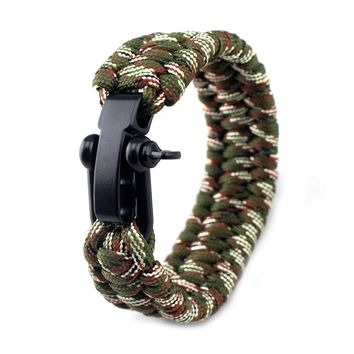 Outdoor Camping Equipment Rope Braided Pulseras Outdoor Survival Rescue Paracord Bracelets Parachute Cord Men Emergency Bracelet