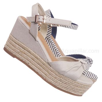 Olson09 Espadrille Wedge Sandal -Women Multi Print & Polka Dot Braided Jute Wrap