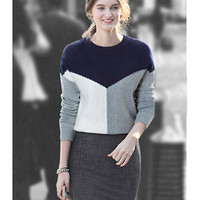 Multi Color Knitted Sweatshirt and Bodycon Mini Skirt
