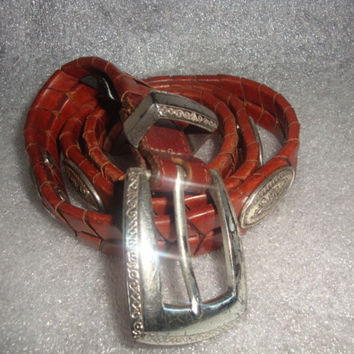 vintage 1990's BRIGHTON WOVEN Brown rustic leather silvertone concho indie boho belt women size SMALL