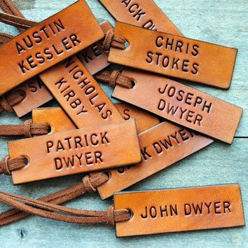 10 Leather ID Luggage Tags Custom Hand Stamped by OfTheFountain
