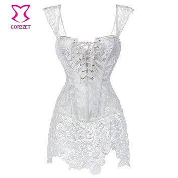 White Paisley Pattern Brocade & Lace Skirted Bridal Corset Bustier Tops Plus Size Korsett For Women Wedding Dress Sexy Lingerie