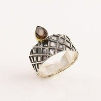 Smoky Quartz Diamond Patterned Sterling Silver Two Tone Ring