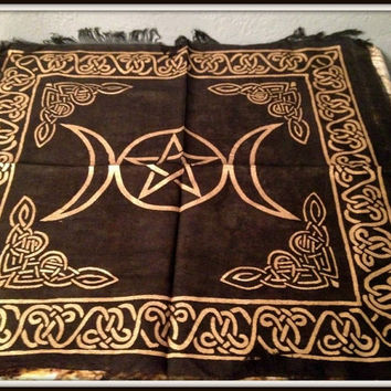 "Black and Gold Triple Moon Pentacle Altar Cloth 18"" x 18"" ~ Wicca ~ Witch ~ Magick ~ Altar Supplies ~ Gold and Black Altar Cloth ~ Tapestry"