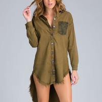 Military Babe High-Low Shirt