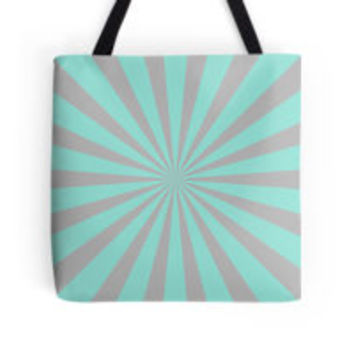 Mint Green Grey Radial Stripe Pattern by TigerLynx