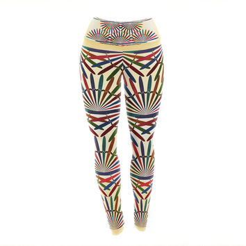 "Famenxt ""Colorful Abstract Pattern"" Yellow Multicolor Yoga Leggings"