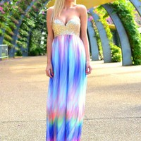 Multi Color Maxi Dress with Gold Sequin Sweetheart Top