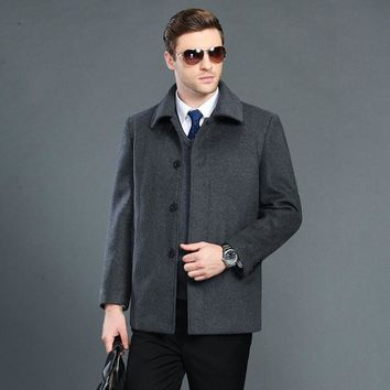 Woolen Overcoat Men's Fashionable And Upscale Style Short Style Winter Extra Thick Warm Leisure Wool Cloak Men