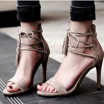 Summer Fashion Tassel Crisscross Bandage Zip Sandals Roman Women Heels Shoes