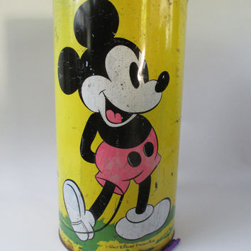 Mickey Mouse Umbrella Stand, Vintage, Trash Can, Tin Tall Container Minnie Mouse Pluto Yellow, Disney Productions Collectible, Photo Display