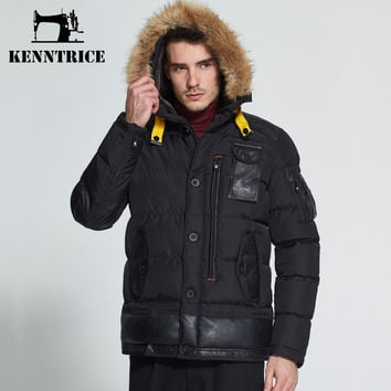 Winter Faux Fur Hooded Parkas Men's Causal Thick Wadded Jacket Cotton Padded Coats Warm Trench Male Pockets