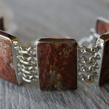 Petrified Wood Sterling Bracelet, 925 Sterling Silver Bracelet, Fossil Wood, Brown Rectangle Stone