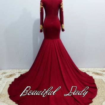 Real Photos Graceful Long Sleeve Burgundy Prom Dresses 2016 New High Neckline Mermaid Stretch Spandex Prom Dress With Gold Lace