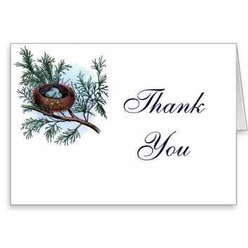 Country Classic Birds Nest Thank You Greeting Card