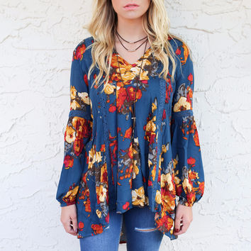 Night Picnic Teal Floral Lace Top