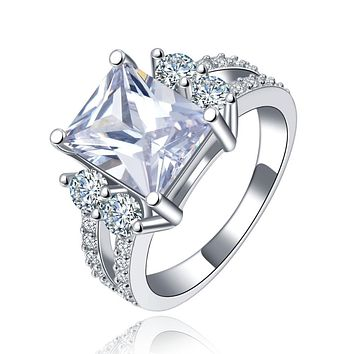 Cubic Zirconia Ring-Hollywood Sensations-Princess Cut Ring 18k Gold Plated with Cubic Zirconia