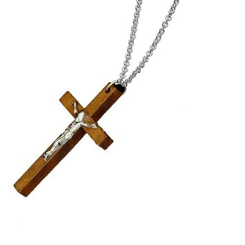 Catholic Jewelry Wooden Cross Pendant  Necklace For Women