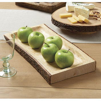Wood Bark Rectangular Platter