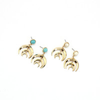 Geometric Gold Plated Crescent Moon Earrings With Stone by Fashnin.com