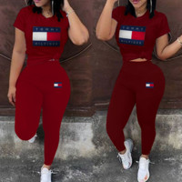 Tommy Hilfiger Fashion Women Casual Print Top Pants Trousers Set Two-Piece Sportswear