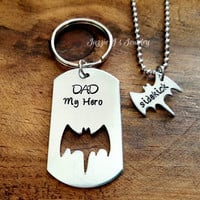 Father and Son Keychain & Necklace Set-Father's Day Gift-Dad's Sidekick Necklace-Dad My Hero Bat Dog Tag Keychain-Bat Keychain and Necklace