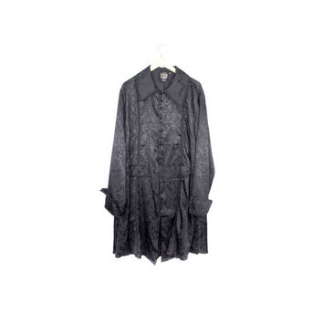silky black victorian goth frock coat / funhouse nyc gothic steampunk witch / button down cloak dress / womens large - xl