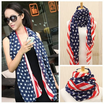 Women Unisex USA Stars Stripes American Flag Shawl Wrap Pashmina Fashion Elegant all-match ultra Long Chiffon Scarf for women H6030 (Color: Blue & Red) = 1958276612